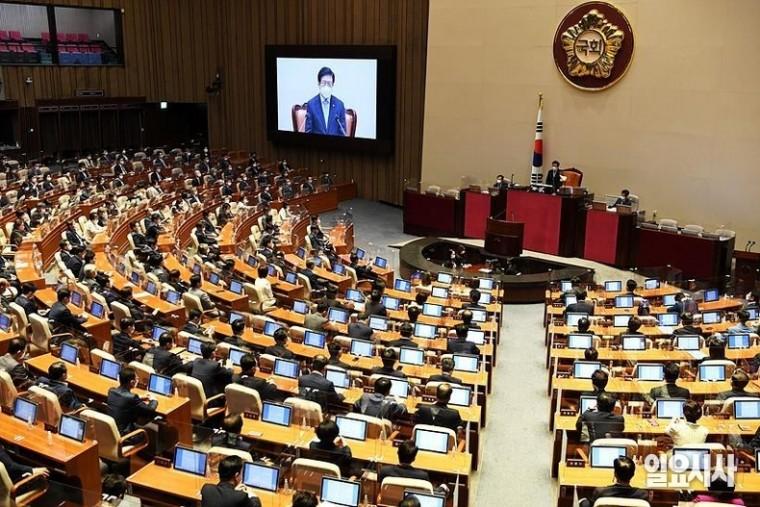 국회는 15일, 서울 여의도 국회서 본회의를 열고 이낙연 전 더불어민주당 대표에 대한 의원직 사직안을 처리했다. ⓒ고성준 기자